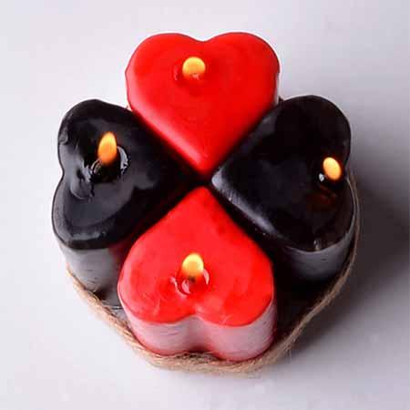 شمع 4 تایی فانتزی قلب