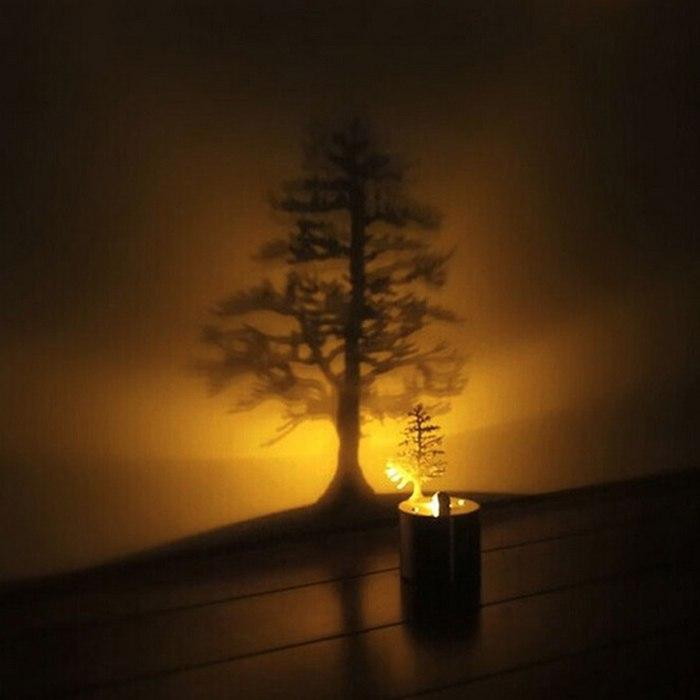 خرید اینترنتی ارزان چراغ سایه ساز ال ای دی طرح درخت