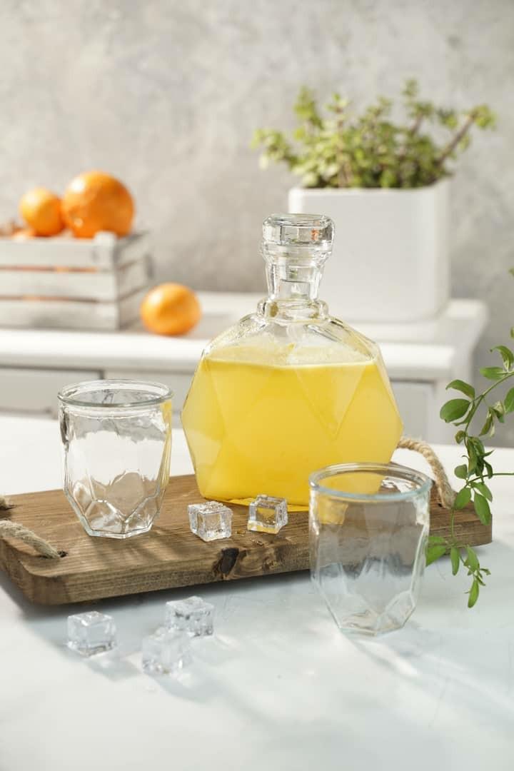 خرید آنلاین بطری طرح دیاموند از برند Helga به همراه دو عدد لیوان