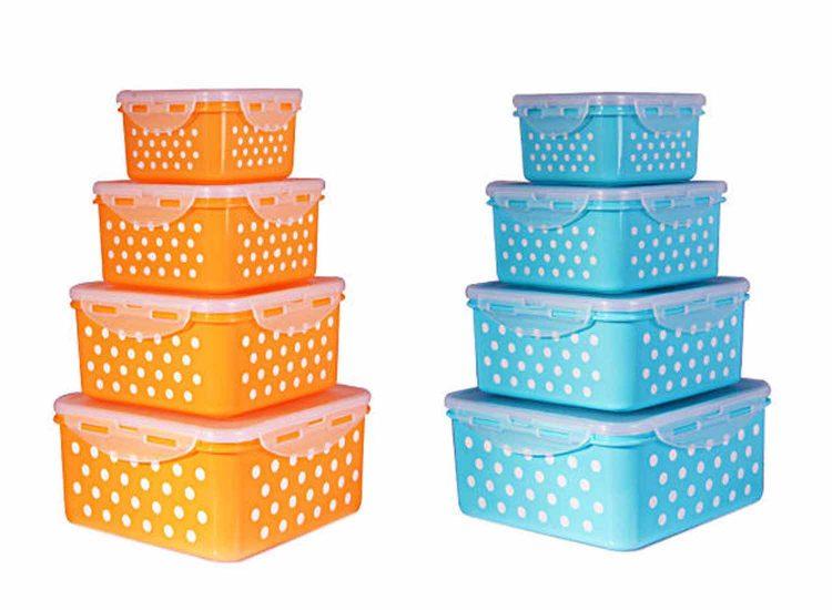 خرید آنلاین ظرف نگهدارنده ماکروویو ۴ عددی طرح خالدار